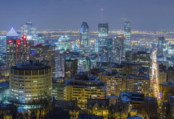 Montréal, ville urbaines, nuit lumières, mont royal Québec, canada